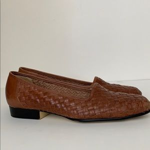 Woven Leather Loafer Flats, Narrow Size